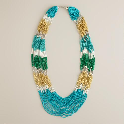 Turquoise Seed Bead Multi-Strand Statement Necklace
