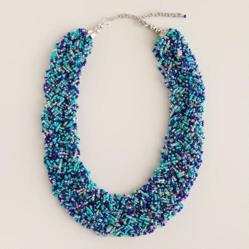 Blue and Turquoise Braided Seed Bead Necklace