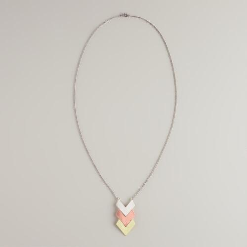 Three-Tone Long Chevron Necklace