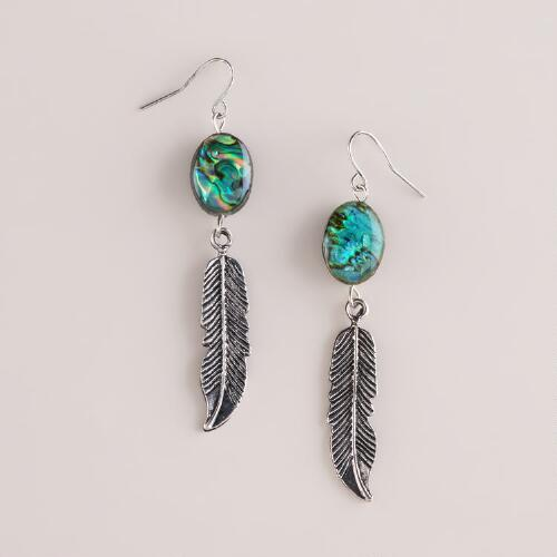 Silver Feather and Stone Earrings