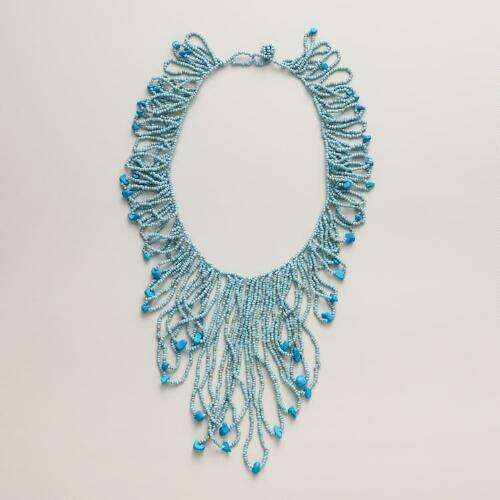 Blue Seed Bead Statement Necklace