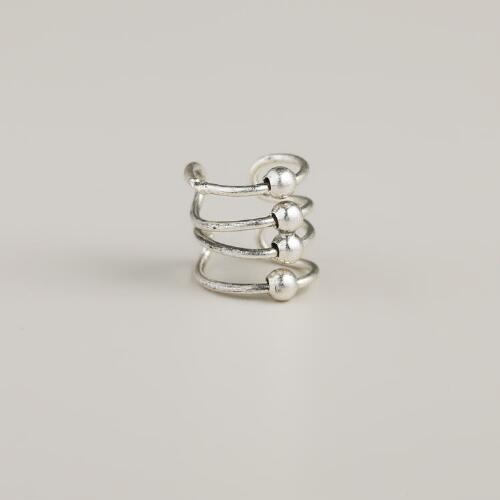 Silver Four-Row Ear Cuff