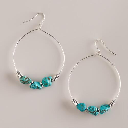Silver and Turquoise Bottom Teardrop Earrings