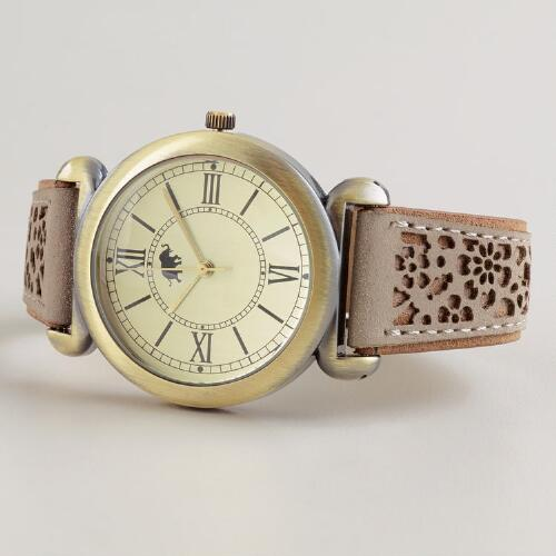Tan and Gold Laser Cut Watch