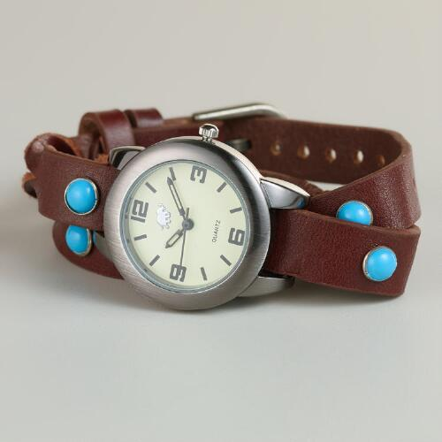 Turquoise Leather Braided Wrap Watch