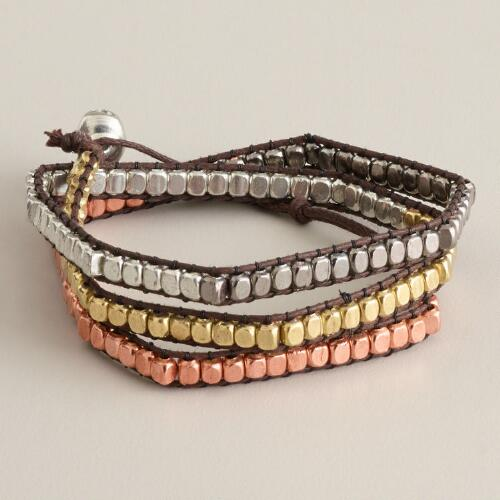 Gold, Silver and Rose Gold Bead Wrap Bracelet