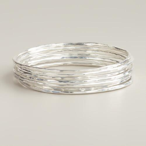 Silver Bangle Bracelets, Set of 7