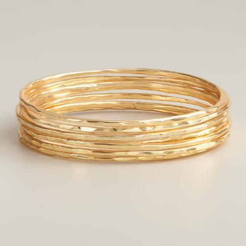 Gold Bangle Bracelets, Set of 7