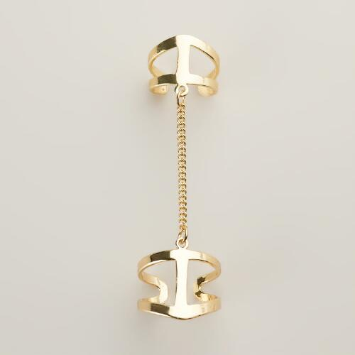 Gold Chain Adjustable Double Ring