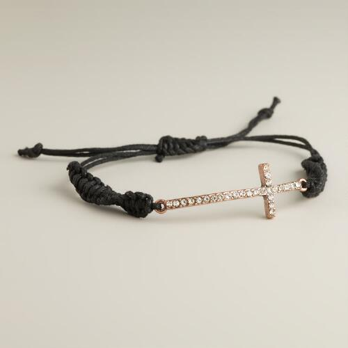 Rose Gold Cross Friendship Bracelet