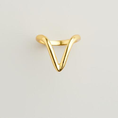 Gold Chevron Midi Ring