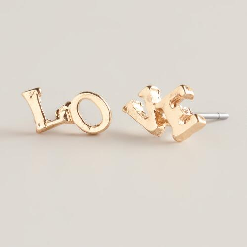 Gold Love Stud Earrings