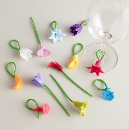 Flower Wine Stem Charms, Set of 12