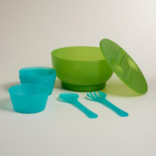 Green and Blue Salad Chiller Set