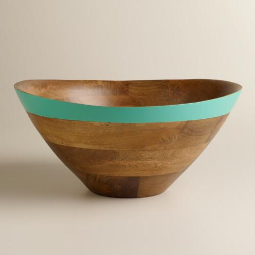 Aqua Mango Wood Dipped Salad Bowl