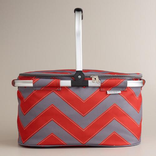 Gray and Red Chevron Insulated Collapsible Tote