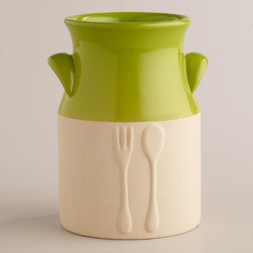 Green Dipped Glaze Utensil Crock