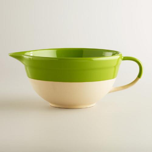 Green Dipped Glaze Mixing Bowl