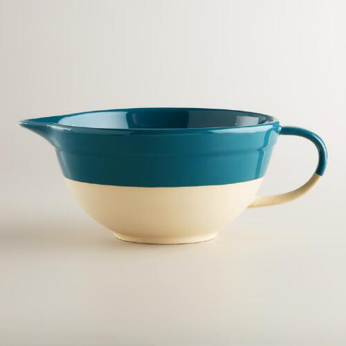 Teal Dipped Glaze Mixing Bowl