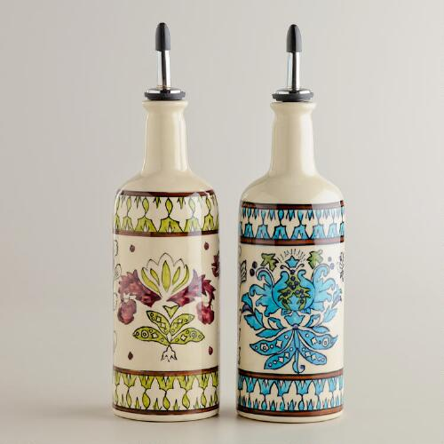Hand Painted Ceramic Oil Bottles, Set of 2