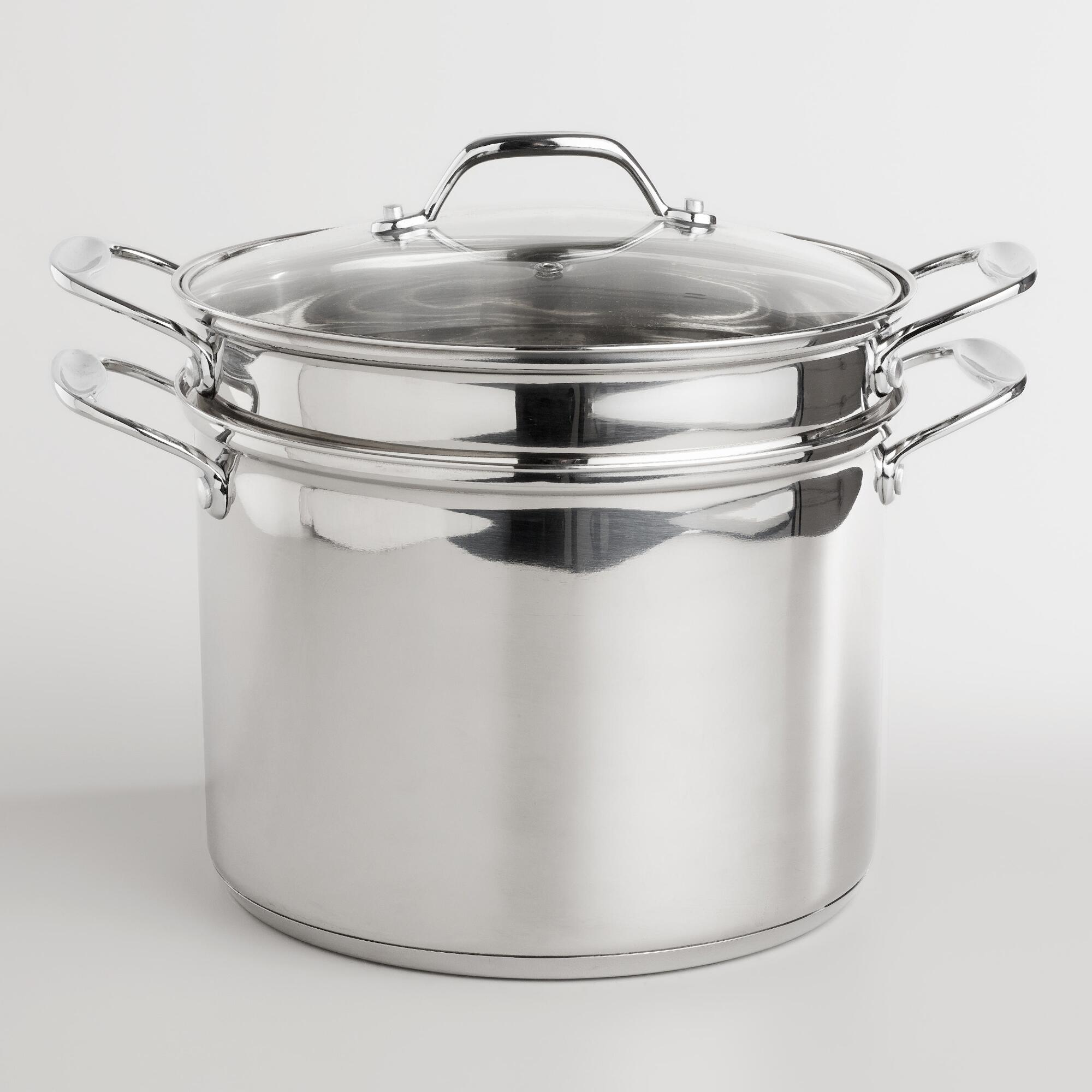 World Market Stainless Steel Pasta Pot with Tempered Glass Lid