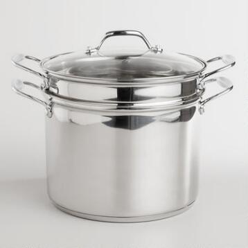 Stainless Steel Pasta Pot with Tempered Glass Lid