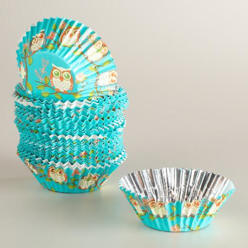 Owls Greaseproof Paper Cupcake Liners, 50-Count