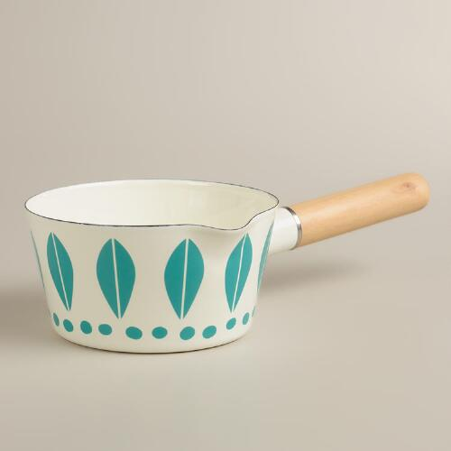 White with Aqua Dots Enamel Saucepan