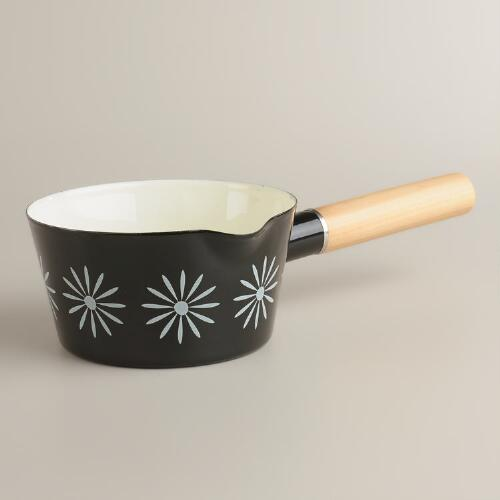 Black with White Daisies Enamel Saucepan