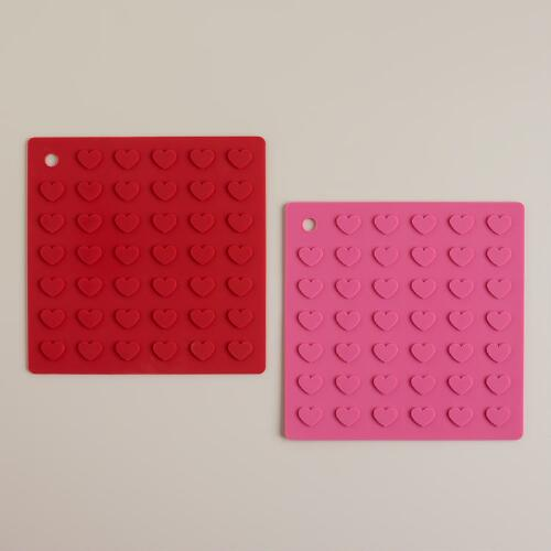 Hearts Silicone Mats, Set of 2