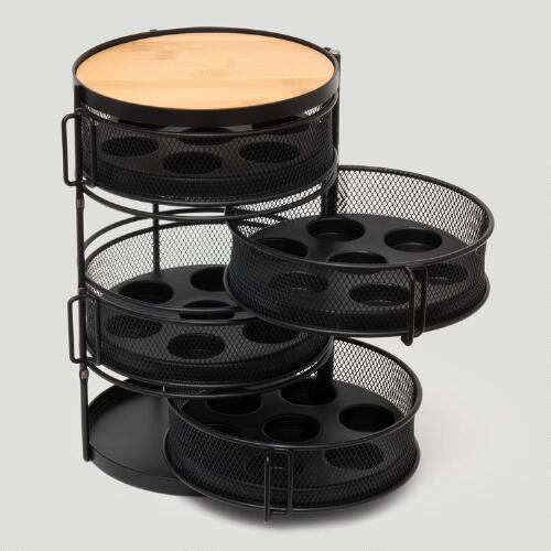 28-Pod, 4-Tier Round Coffee Tower with Swing Out Drawers