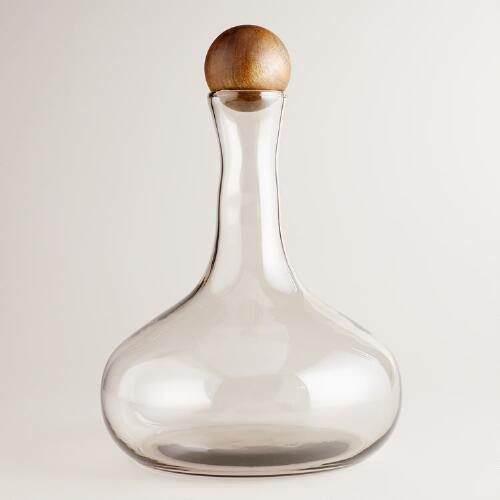 Large Glass Decanter with Wood Stopper