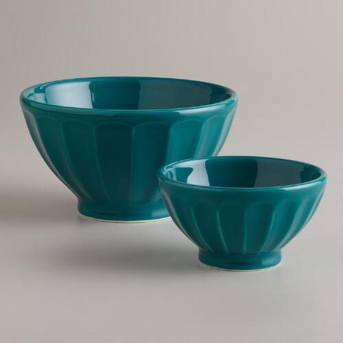 Teal Cafe Bowls, Set of 2