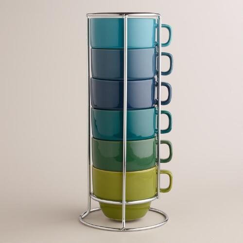 Cool Ombre Stacking Mugs, Set of 6