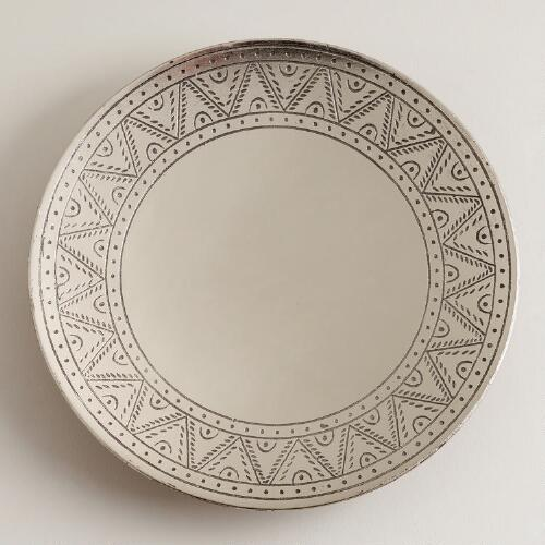 Small Embossed Pillar Candle-Plates, Set of 2