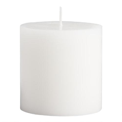 "3"" x 3"" White Unscented Pillar Candle"