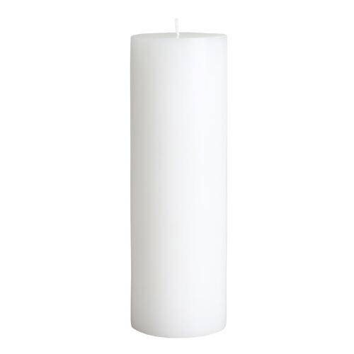 "3"" x 9"" White Unscented Pillar Candle"