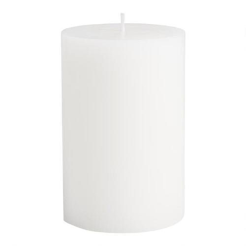 "4"" x 6"" White Unscented Pillar Candle"