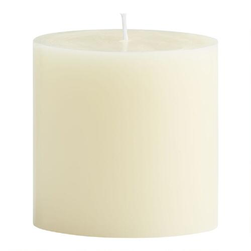 "4"" x 4"" Ivory Unscented Pillar Candle"