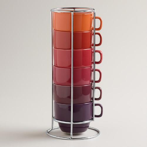 Warm Ombre Stacking Mugs, Set of 6