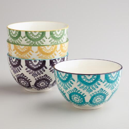 Painterly Geo Bowls, Set of 4