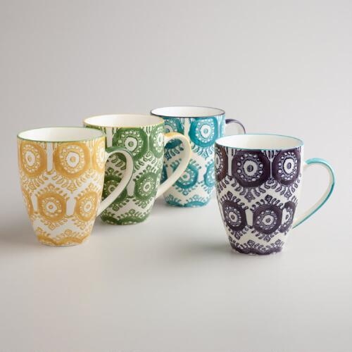 Painterly Geo Mugs, Set of 4