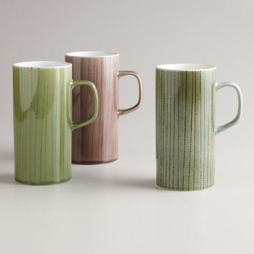 Tall Linear Mugs, Set of 3