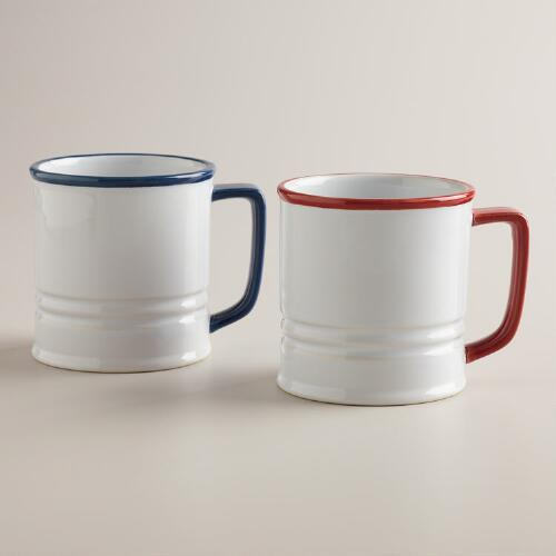 Americana Enamel Coffee Mugs, Set of 2
