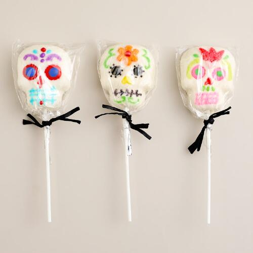 Day of the Dead Marshmallow Skull Lollipops