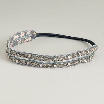 Gray and Silver Beaded Elastic Double Headband