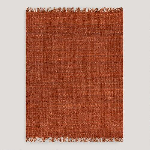 Red-Orange Venora Flat-Woven Hemp Rug
