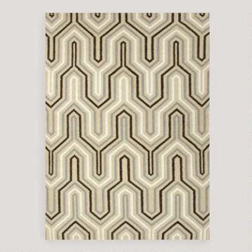Light Gold Kienna Flat-Woven Wool Rug