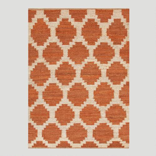 Orange Jiya Flat-Woven Hemp Rug
