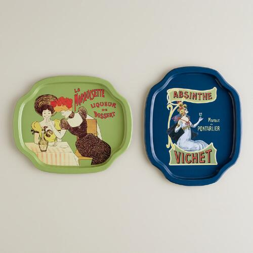 Mini Art Nouveau Tin Trays, Set of 2